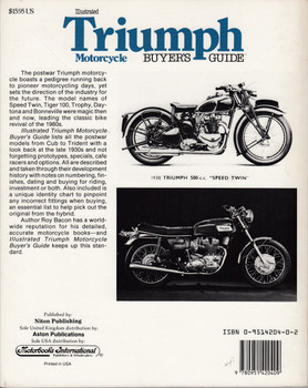 Illustrated Triumph Motorcycle Buyer's Guide (Roy H. Bacon, Paperback 1989) (9780951420409)