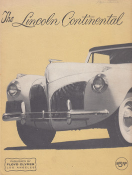 The Lincoln Continental - Plus Specifications - Restoration - Maintenance - Repairs (Floyd Clymer) Paperback 1st Edn. 1963 (B001P9FAO6)