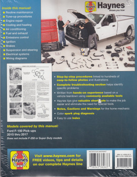 Ford Pick-ups Full Size, F-150, 2WD & 4WD (all models) 2015 - 2017 Workshop Manual (Haynes 36063) (9781620922811)