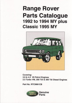 Range Rover 1992 - 1994 My Plus Classic 1995 My Parts Catalogue (RTC9961CB)