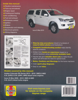 Holden Colorado 2012 - 2019, Isuzu D-Max 2008 - 2019 Workshop Manual (9781620923016)