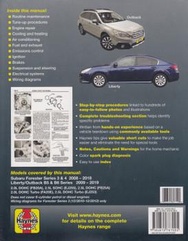 Subaru Forester 2008 - 2018, Liberty / Outback 2009 - 2019 Workshop Manual (Haynes, 89712)