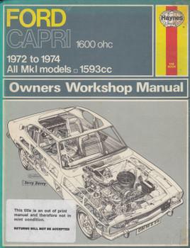 Ford Capri 1600 ohc 1972 - 1974 All Mk1 models 1593cc Haynes Owners Workshop Manual (9780856962967)