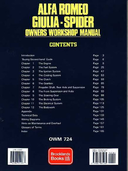 Alfa Romeo Giulia - Spider 1962 - 1987 Workshop Manual