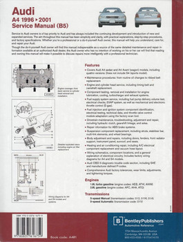 Audi A4 1996 - 2001 Workshop Manual Back Cover