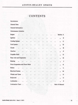 Austin Healey Sprite Mark I Workshop Manual