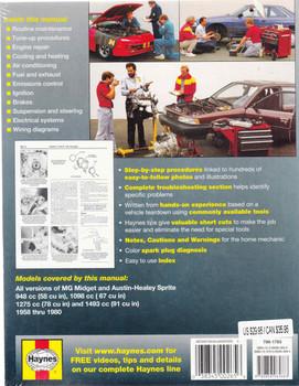 MG Midget & Austin Healey Sprite 1958 - 1980 Workshop Manual - back