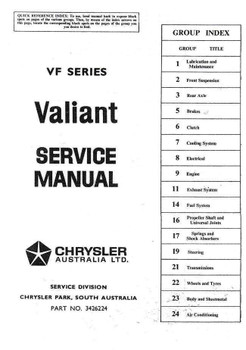 Valiant VF 1969 - 1970 Workshop Manual