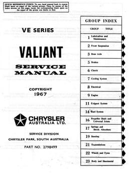 Valiant VE 1967 - 1969 Workshop Manual