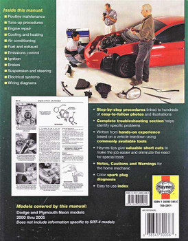 Dodge and Plymouth Neon 2000 - 2005 Workshop Manual