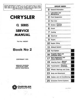 Chrysler CL Series 1976 - 1978 Workshop Manual (Volume 2)