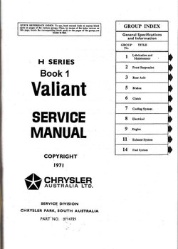 Chrysler | Valiant VH (H) Series 1971 - 1973 Workshop Manual (Book 1)