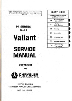 Chrysler | Valiant VH (H) Series 1971 - 1973 Workshop Manual (Book 2)