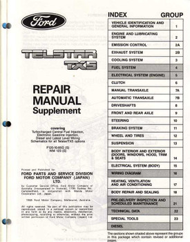 Ford Telstar TX5 Suplementary Workshop Manual