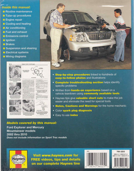 Ford Explorer 2002 - 2010 Workshop Manual (9781563928116)  - back