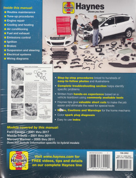 Ford Escape, Mazda Tribute, Mercury Mariner 2001 - 2017 Workshop Manual (9781620922880)