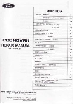 Ford Econovan 1979 - 1983 Workshop Manual