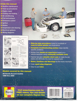 Honda Accord 1998 - 2002 Workshop Manual Back Cover