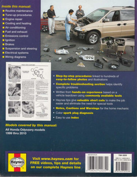 Honda Odyssey 1999 - 2010 Repair Manual Back Cover