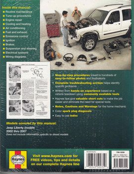 Jeep Liberty 2002 - 2007 Gasoline Models Workshop Manual  - back