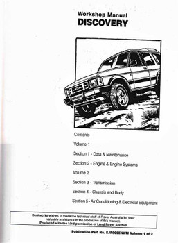 Land Rover Discovery (up to 1994) Workshop Manual (2 Volumes)