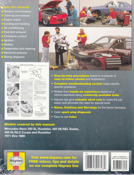 Mercedes - Benz 350 & 450 1971 - 1980 Workshop Manual - back