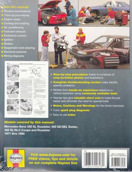 Mercedes - Benz 350 & 450 1971 - 1980 Workshop Manual - back