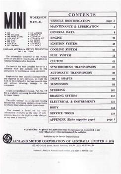 Mini All Models Workshop Manual
