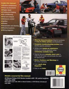 Nissan Pulsar N15 Series, 1.6L Petrol Engines 1995 - 2000 Workshop Manual