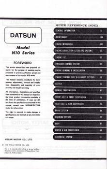 Nissan Pulsar Model N10 Series Workshop Manual