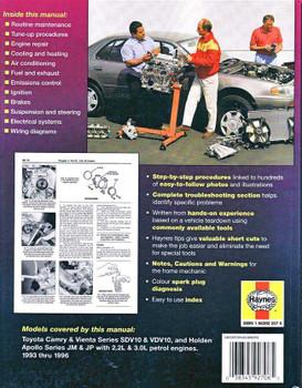 Toyota Camry, Vienta & Holden Apollo 1993 - 1996 Workshop Manual