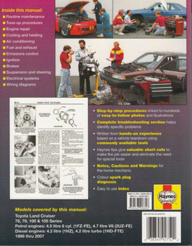 Toyota Land Crusier 78, 79, 100, 105 Repair Manual Back Cover