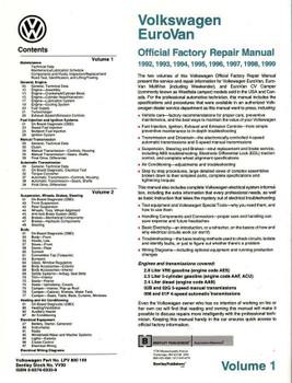 Volkswagen Eurovan 1992 - 1999 Workshop Manual (2 Volumes)
