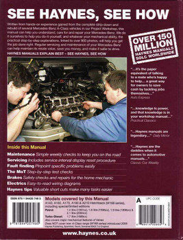 Mercedes - Benz A-Class 1998 - 2004 Workshop Manual