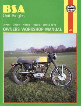 BSA Unit Singles 247cc, 343cc, 441cc, 499cc 1958 - 1972 Workshop Manual