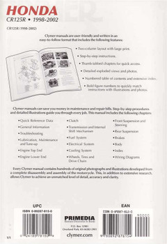 Honda CR125R 1998 - 2002 Workshop Manual