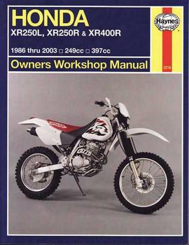 Honda XR250L, XR250R & XR400R 249cc & 397cc 1986 - 2003 Workshop Manual