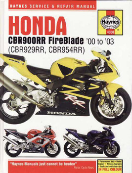 Honda CBR900RR FireBlade (CBR929RR, CBR954RR) 2000 - 2003 Workshop Manual