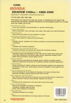 Honda Shadow 1100cc ( VT1100 ) 1985 - 1996 Workshop Manual back cover