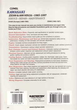 Kawasaki ZX500 & ZX600 Ninja 1985 - 1997 Workshop Manual