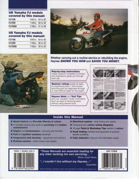 Yamaha FJ1100 & FJ1200 Fours 1984 - 1996 Workshop Manual Back Cover