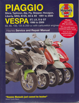 Piaggio, Vespa Scooters 1991 - 2009 Workshop Manual (9781844258031)