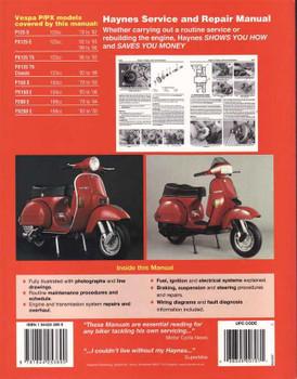 Vespa P, PX125, 150 & 200 Scooters 1978 - 2003 Workshop Manual