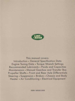 Land Rover Ninety One Ten (90 and 110) Up To 1993 Workshop Manual