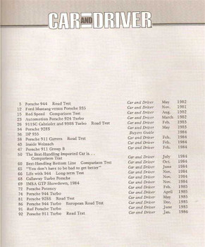 Car And Driver on Porsche 1982 - 1986