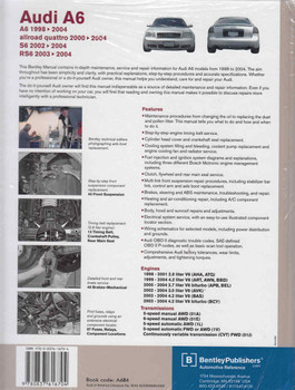 Audi A6, S6, Allroad Quattro, RS6 1998 - 2004 Service Manual - back
