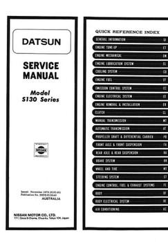 Nissan Datsun 280ZX Model S130 Series 1978 - 1984 Workshop Manual