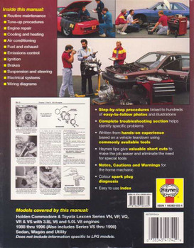 Holden Commodore, Toyota Lexcen VN, VP, VQ, VR, VS 1988 - 1996 Workshop Manual