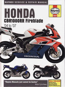 Honda CBR1000RR Fireblade, 998cc 2004 to 2007 Workshop Manual