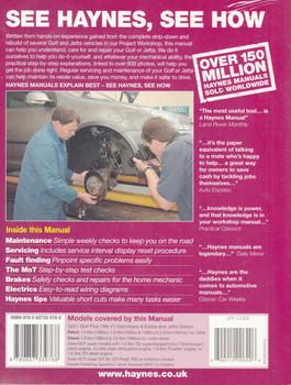 Volkswagen Golf, Golf Plus (MK V) and Jetta 2004 - 2009 Workshop Manual Back